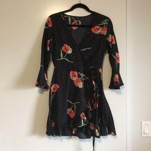 asos floral faux wrap dress